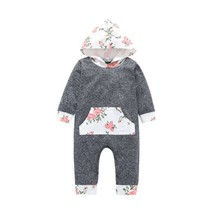 New Newborn Baby Girls Floral Hooded Floral Long Sleeves Romper Jumpsuit... - $11.39