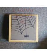 Wood-mounted Halloween Spider & Web Rubber Stamp  - $3.85