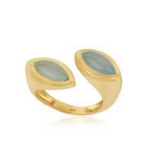 Aqua Chalcedony Gemstone 925 Silver Gold Plated Engagement Ring Jewelry - $31.68