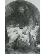 NUDE Musician Orpheus & Forest Nymphs Mythology - 1893 Victorian Era Print - $21.60