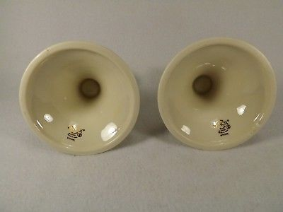 Lenox Pair of Candle Holders Tapers Leaves Embossed Gold Trim Gold Mark 3 1/2""
