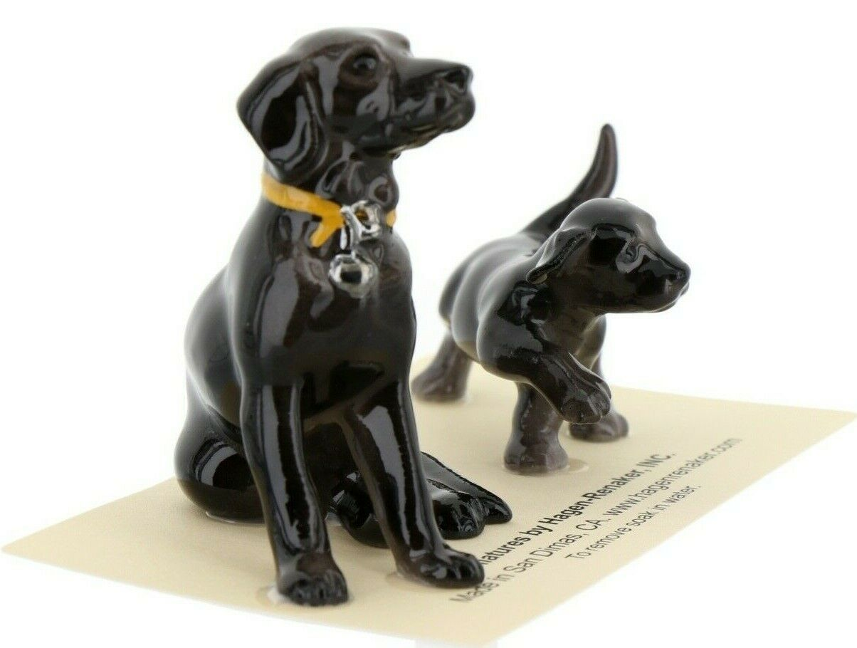 Hagen Renaker Dog & Puppy Labrador Retriever Sitting Black Ceramic Figurine Set