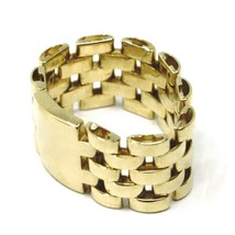 SOLID 18K YELLOW GOLD BAND CHAIN LINK CABLE MESH RING, MADE IN ITALY image 2