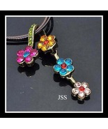 Retro Colorful Rhinestone Flower Necklace That ... - $13.50