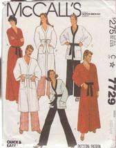 McCALL'S PATTERN 7729 DATED 1981 SIZE MEDIUM 36/38 UNISEX ROBE JACKET PANTS - $3.90