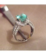 14k White Gold 3ct Emerald Diamond Ring - $3,395.00