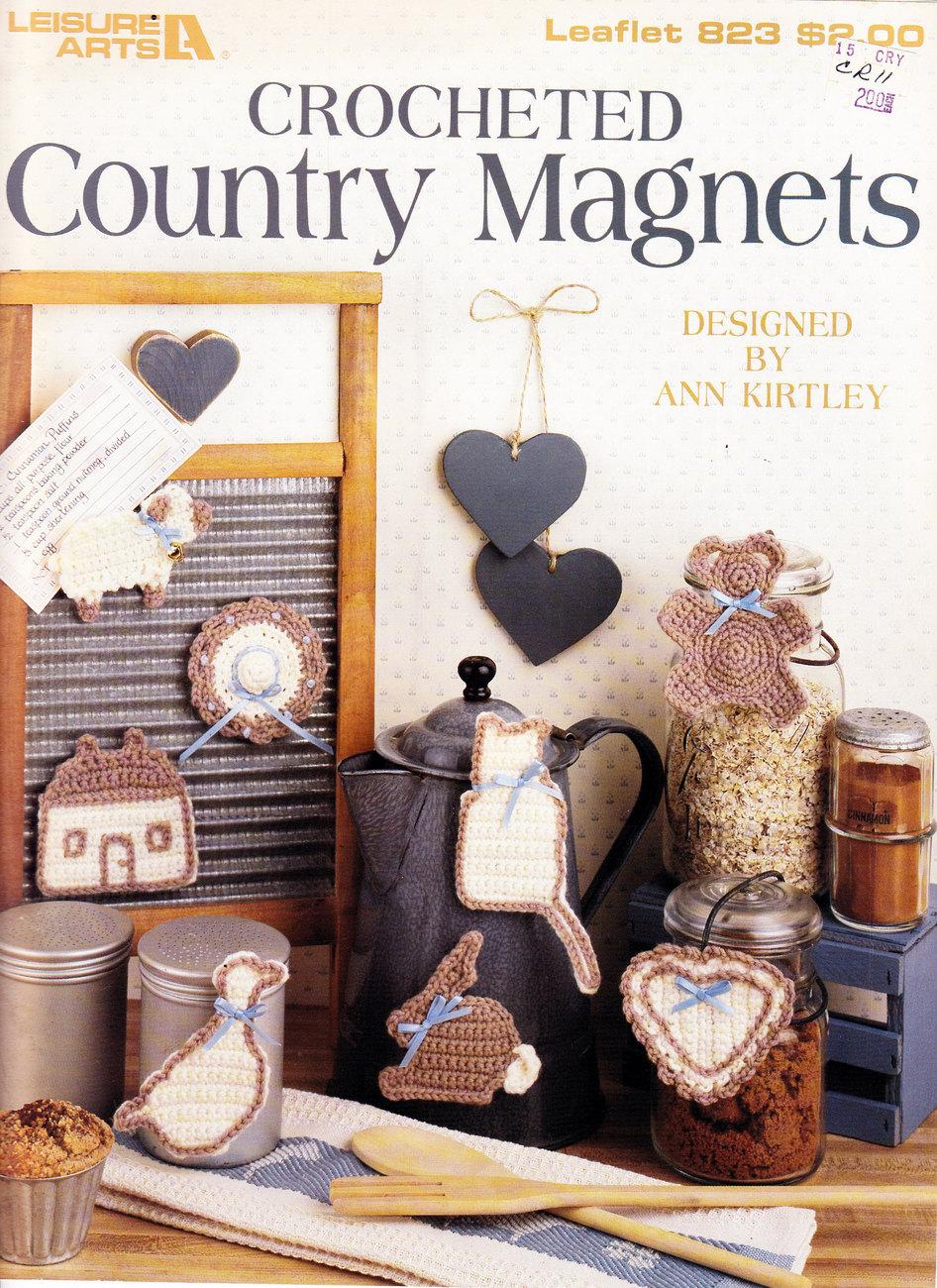 CROCHETED COUNTRY MAGNETS LEISURE ARTS LEAFLET 823 HEART, CAT, BONNET, LAMB, - $3.50