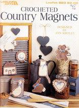 CROCHETED COUNTRY MAGNETS LEISURE ARTS LEAFLET 823 HEART, CAT, BONNET, L... - $3.50