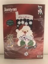 "Janlynn Santa's Snowflake Collection Felt Appliqué Christmas Stocking 18"" 2004 - $29.69"
