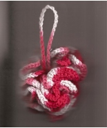 Bath Shower Puff Cotton Pink Rose and White100 Percent Cotton Crocheted ... - $6.50