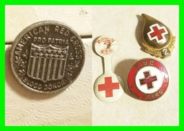 4x Early Vintage Red Cross Blood Donor Red 2 Gallon Pin ~ 5 Year Pin And... - $14.54
