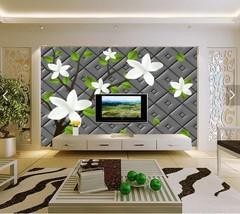 3D Schwarz, weiße Blüten 99 Fototapeten Wandbild Fototapete BildTapete FamilieDE - $52.21+