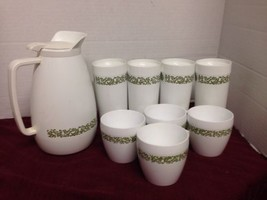 Vintage Westbend Thermo Serve Pitcher, 4 Tumblers, 4 mugs 1960's Rare Wh... - $11.03