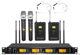 Professional UHF Wireless 2 Handheld 2 mini Black Headset Microphone Sys... - $395.01