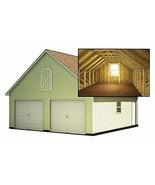 Two Car Garage Plans With Loft DIY Backyard Shed Building 24' x 24' - $24.95