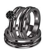 14k Black Gold Over 925 Sterling Silver Black Diamond Gents Ladies Trio Ring Set - $162.99