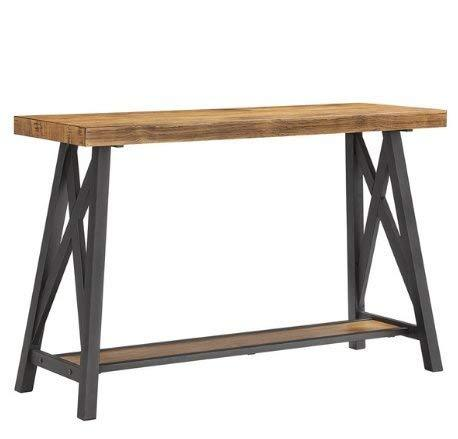 ModHaus Living Modern Industrial Rustic Wood Console Entryway Sofa Table with Lo