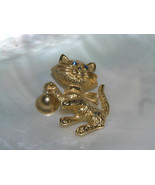 Vintage AVON signed Goldtone Kitty Cat with Blue Rhinestone Eyes & Ringi... - $9.49