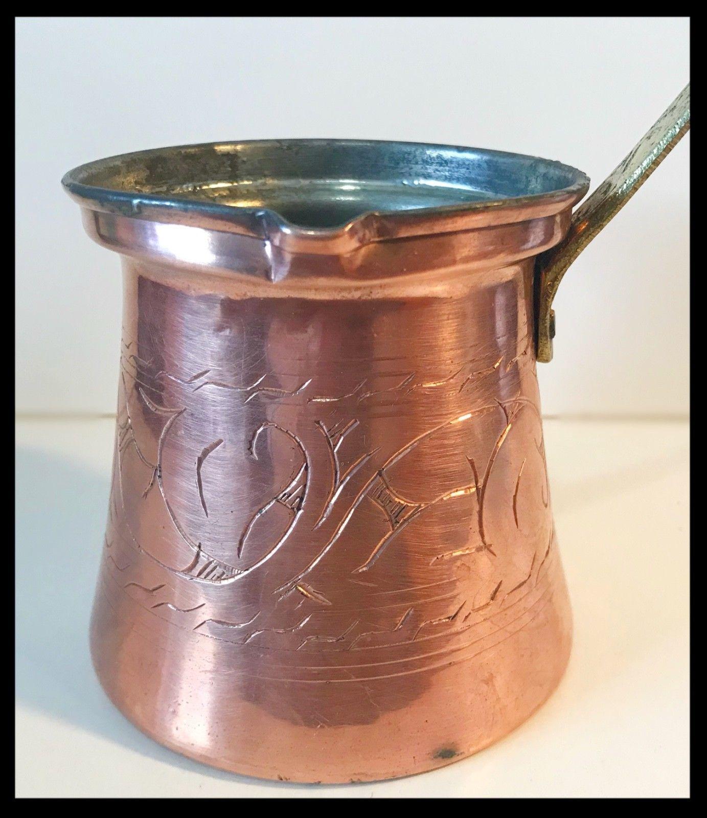 Vintage 1950's Turkish Copper Etched Coffee Pot