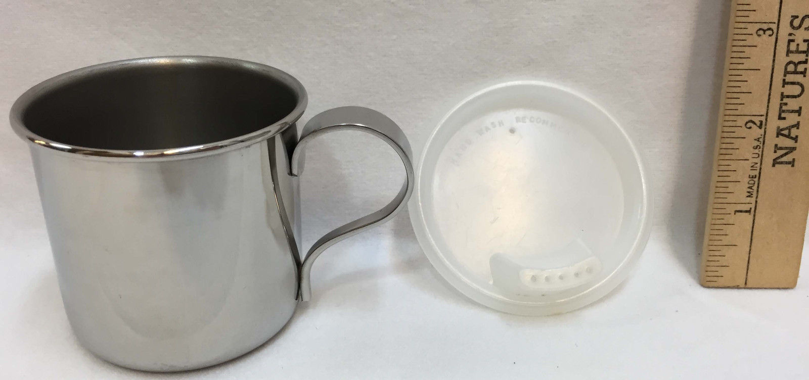 """Stainless Steel Sippy Cup Oneida Plastic Lid 3"""" Spill Proof USA Made Mug w/ Box"""