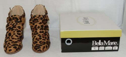 Bella Marie Vermont 61 Leopard Suede Double Buckle Plus Zipper Size 6