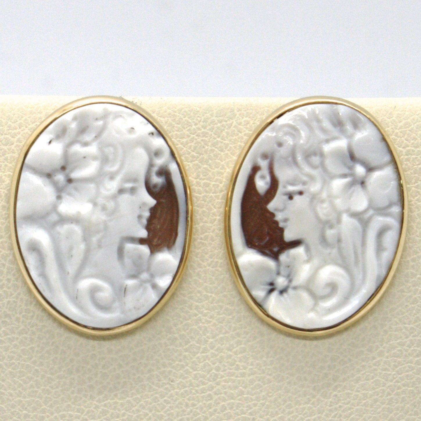 YELLOW GOLD EARRINGS 18K 750 WITH CAMEO CAMEO SHELL OVAL MADE IN ITALY