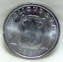 MALI HIPPO HIPPOPOTAMUS HEAD 5 FRANC 1961 ALUMINUM COIN - $11.64