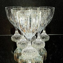 6 (Six) Mikasa Park Lane Cut Lead Crystal Wine Goblets Glasses Discontinued - $85.49