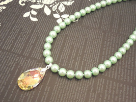 8mm Mint Green Glass Pearl Necklace with Swarovski Tear Drop Crystal Pe... - $49.00