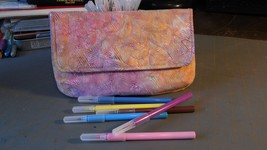 Clutch bag in coral, aqua, orange, purple and gray batik print cotton - $16.59 CAD