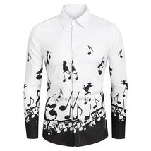 White Music Notes and Cat Print Button Up Long Sleeve Festival New Shirt - $39.99