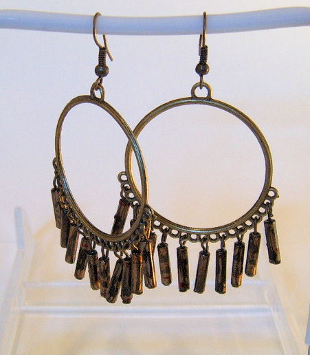 Earrings hoops with long gold beads
