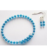 Blue Memory Wire Bracelet Earring Jewelry Set  - $16.00