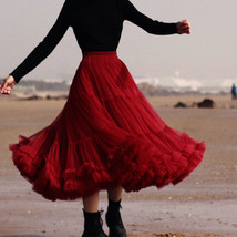Burgundy Midi Puffy Tutu Skirt Burgundy High Waisted Layered Tulle Skirt Plus  image 8