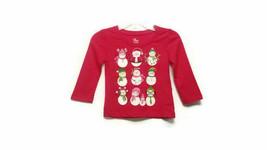 The Children's Place Girls 9-12 Mths Snowman Shirt Red Christmas Long Sleeve NEW - $7.98
