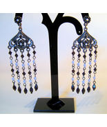 Earrings Silver Tone with Black and White Beads Chains - $2.99