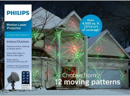 Philips Christmas Holiday Laser Projector 12 Moving Motion Patterns + Remote NEW
