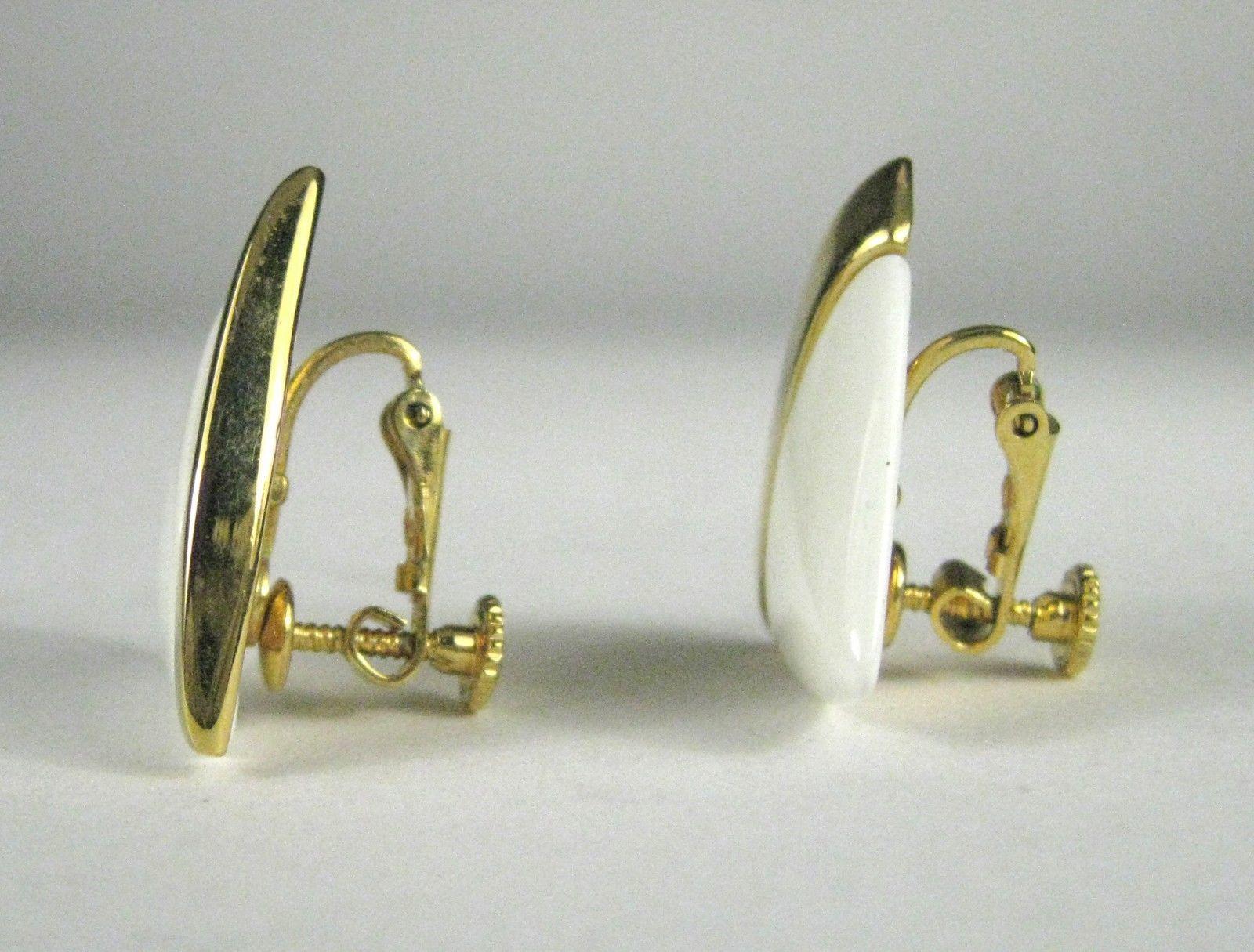 NAPIER Clip Earring Screw Back White Lucite Goldtone Signed VTG Vintage image 2