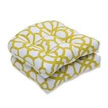 Pillow Perfect Outdoor/Indoor Nunu Geo Wasabi Wicker Seat Cushion Set of 2 - £30.85 GBP