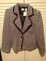 EMMA JAMES (Liz Claiborne) Black/White Herringbone Jacket size 16 - $28.95