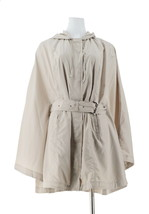 Halston Water Repellant Poncho Anorak Hood Front Pockets Stone M NEW A27... - $58.39