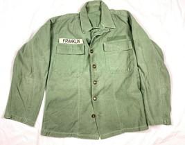 Vtg WWII Korean US Army OD Infantry Military Green Long Sleeve Uniform Shirt  - $59.99