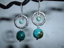 AFRICAN TURQUOISE Sterling Silver Earrings 416 - $13.08