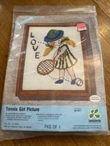 "Leewards Tennis Girl Picture Needlepoint 8x10"" - $17.71"