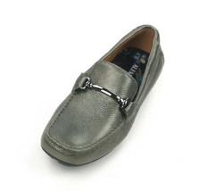 New Alfani Pewter Tumbled Leather Bit Front Marcus Driver Loafers Shoes 11 - $29.69