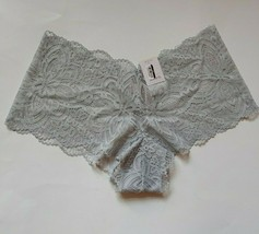 Auden Cheeky Floral Lace Hipster Panties Size Medium 8-10 Light Gray NEW - $4.94