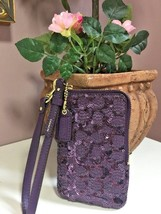 Coach Universal Poppy Signature Purple Sequin Zip Phone Bag Wristlet  68... - $54.44