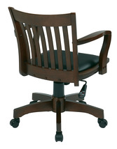 Espresso Finish Mission Swivel Bankers Office Wood Chair w/Arms & Padded... - $154.00