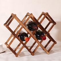 Wooden Red Wine Rack Bottle Holder Mount Bar Display Shelf Folding Wood Racks - $24.99
