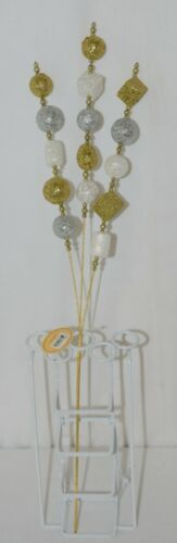 Tii Collections G1962 Gold White Silver Glitter Ball Beaded Floral Spray 25 Inch